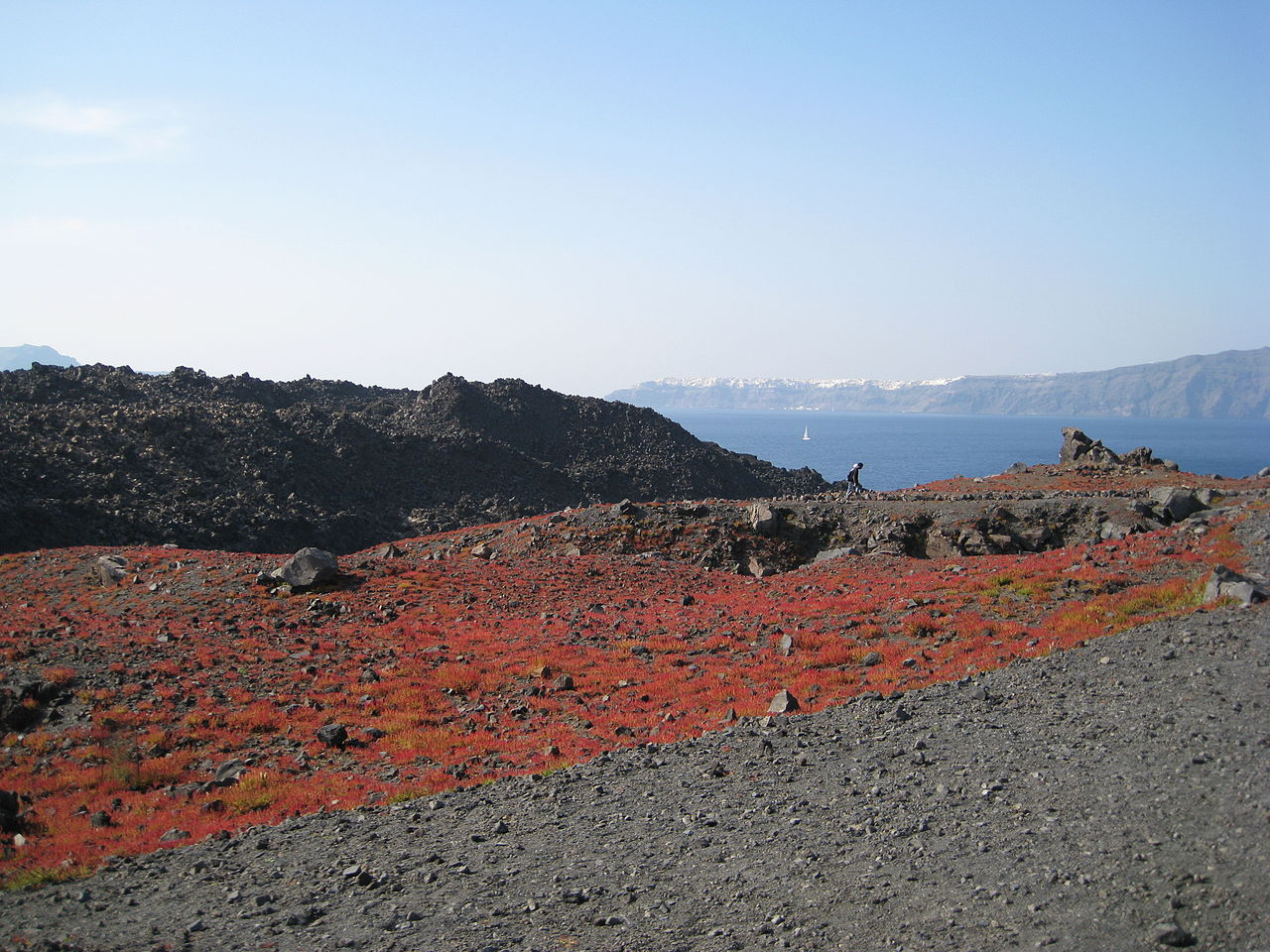 Nea Kameni in the Santorini caldera