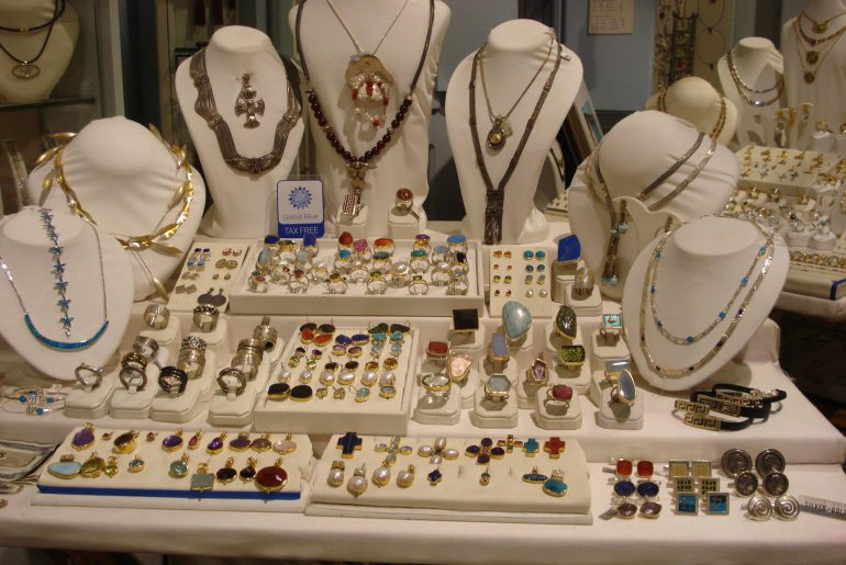 Beautiful local jewelry display at Eponymo.
