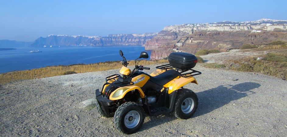 Exploring Santorini with a quad bike